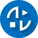 Blue and white audio visual (A/V) flat icon with drop shadow