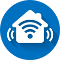 Blue and white home control and automation flat icon with drop shadow