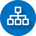 Blue and white networking flat icon with drop shadow